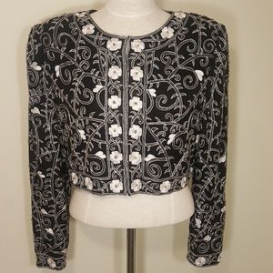 Vintage Laurence Kazar Embroidered Crop Jacket